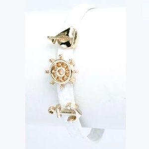 ❤️ White Faux Leather Sailboat Nautical Bracelet